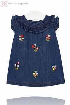 Make her the cutest and sweetest thing with some more of the extremely cute females toddler & little one dresses. Toddler Suits, Toddler Dress, Kids Dress Wear, Little Girl Dresses, Embroidered Denim Dress, Kids Ethnic Wear, Kids Frocks Design, Kids Fashion, Fashion Outfits
