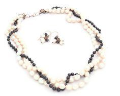 Wedding Jewelry Set Triple Strand Pearl Necklace and Earrings by TurtleXIII, $95.00. White freshwater pearls and black swarovski pearls.