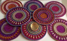 Gypsy decor, purple decor, boho decor, diya, Diwali diyas, bollywood decor, Mandala decor by CozMHappy