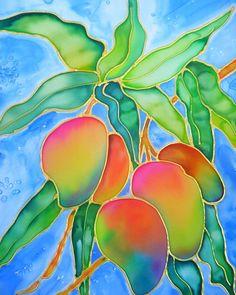 Hawaiian Mangoes - silk painting by ©Marionette (kauaiartist) via Etsy