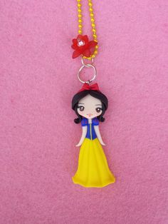 Necklace Snow White polymer clay fimo by Artmary2 on Etsy, €12.00