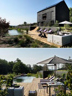 A modern black barn house with a natural swimming pool. Swimming Pool House, Swimming Pool Landscaping, Swimming Pools, Barn Pool, Cabin Style Homes, Rectangle Pool, Barn Renovation, Rural Retreats, Built In Furniture