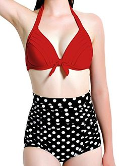 19e36665df ANGEL SECRET Triangl Halter Ruched High Waisted Bathing Suit Bikini     Check this awesome item by going to the link at the image.