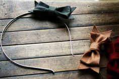 Girl's Caramel Brown Bow Felt Headband by LaceysHouse