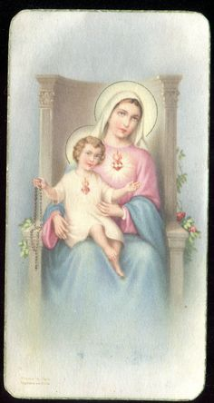 Old Holy Card of St Mary and Jesus   eBay