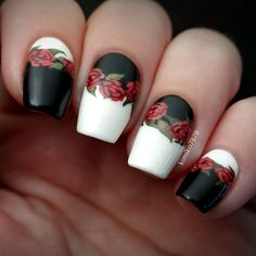 Here are some hot nail art designs that you will definitely love and you can make your own. You'll be in love with your nails on a daily basis. Get Nails, Fancy Nails, Pretty Nails, Hair And Nails, Rose Nails, Flower Nails, Nail Art Fleur, Jolie Nail Art, Manicure E Pedicure