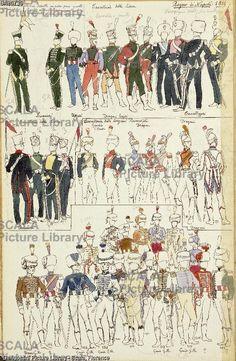 ******** Militaria, Italia XIX secolo. Uniformi varie del Regno di Napoli, 1814. Tavola dal Codice Cenni.