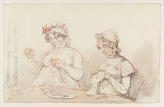 Thomas Rowlandson, 'Two Women Sewing by Candlelight' date not known. Watercolor and graphite on paper. From the Tate collection: T08273