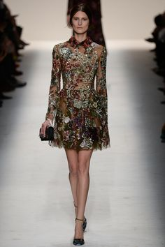 Valentino | Fall 2014 Ready-to-Wear Collection | Beautiful Sequin Work | Georgette in Olive Green
