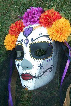 dia de los muertos mask with flowers