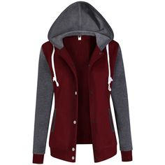 Hooded Color Block Pocket Coat ($32) ❤ liked on Polyvore featuring outerwear, coats, red hooded coat, long red coat, cotton coat, hooded coat and colorblock coat