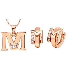 """Stilfuld Sølv-forgyldt sølv med cubic zirconia """"M"""" Kvinders smykker sæt (Herunder Halskæder, øreringe) (Guld, Sølv) – DKK kr. 45"""