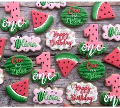 Roquefort mini cakes, smoked walnuts and bacon - Clean Eating Snacks First Birthday Cookies, First Birthday Party Themes, First Birthday Decorations, Baby First Birthday, Birthday Ideas, Twin Birthday, Birthday Stuff, Watermelon Cookies, Watermelon Rind