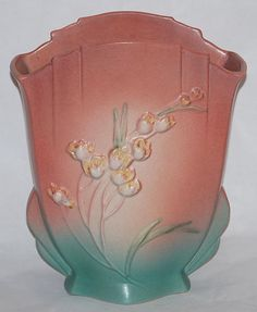 Roseville Ixia pink and green pillow vase. Probably my favorite piece of Roseville I own!