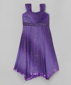 Look at this #zulilyfind! Purple Glitter Handkerchief Dress #zulilyfinds