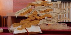 PWOC - Studying the Hebrew names of God and what they mean throughout each season we go through while holding on to his promises.  Names and bible props made with cardboard. Span of display is about 7' wide.