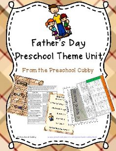 Preschool Father's Day Theme Resource Packet with 30 pages ready to print, laminate and use!  Some items included are: Art activities, gift ideas, math games, song posters, and more!  Click here to learn more!