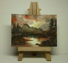Aceo original landscape sunset lake mountains trees birds metcalfe