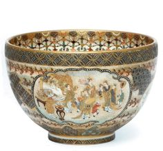 A Satsuma Bowl Signed Kozan, Meiji Period (Late Century) Japanese Porcelain, Japanese Ceramics, Japanese Pottery, Fine Porcelain, Porcelain Ceramics, Ceramic Bowls, Ceramic Pottery, Ceramic Art, Slab Pottery