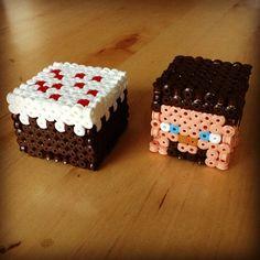 Minecraft Cake and Steve hama beads by beadwarriors