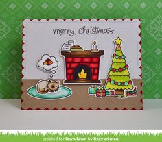 Merry Christmas card by Lizzy Criman for Lawn Fawn