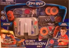 SPY GUY SECRET MISSION SET by SUPREME. $9.75. The Spy Guy Secret Mission Set contains all the spy gear you need for your secret agent imaginative play. Set includes secret message decoder, disc shot, look around binoculars, and spy passport. Use these tricky binoculars to look all around. Nobody can tell you're really looking at them. Look through the binoculars to see straight ahead. Turn the 'spy switch' and you can see to the right or left!