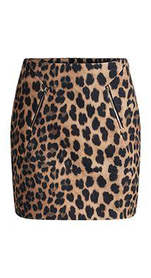 Esprit / Minirok met luipaardprint en ritsen