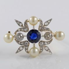 AUTHENTIC TIFFANY & CO VICTORIAN NATURAL SAPPHIRE DIAMOND PEARL EXQUISTE BROOCH PENDANT!