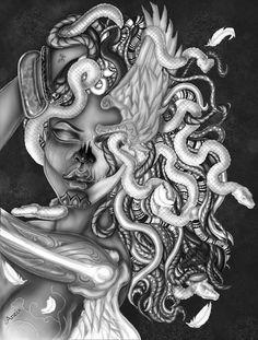 The weeping gorgon Dark Art Drawings, Tattoo Design Drawings, Art Drawings Sketches, Tattoo Sketches, Tattoo Designs, Skull Drawings, Medusa Art, Medusa Tattoo, Arte Cholo