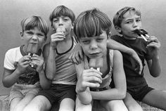 One from the black & white archives of four boys enjoying some popsicles on a hot summer day outside a convenience store. My editor never ran it because he felt the boys looked too sinister. Vintage Photography, Film Photography, Street Photography, Lewis Carroll, Photojournalism, Kind Mode, Belle Photo, Black And White Photography, Old Photos