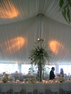 Elegant full tent ceiling liner with accent lighting