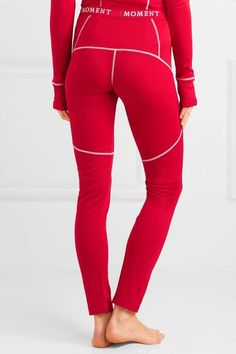 Red and white stretch-jersey Pull on 65% polyester, 35% wool Machine wash Imported