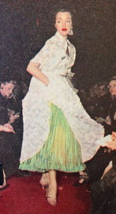 Hubert de Givenchy- 1952 White lace petticoat and skirt ensemble encrusted with rhinestones and turquoise over a green silk taffeta pleated skirt. Elle- Les Collections Printemps 1952- No.327- March 3, 1952.