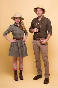 female and male exlorer outfits, worn by a smiling blonde woman, and a tall man, duo halloween costumes, indiana jones or safari Safari Outfit Women, Jungle Outfit, Safari Outfits, Fall Outfits, Jungle Costume, Giraffe Costume, Duo Halloween Costumes, Diy Costumes, Halloween Couples