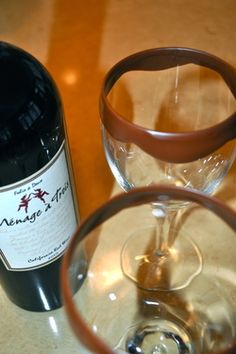 This looks amazing! Chocolate dipped Wine Glasses