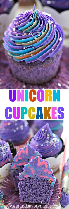 Unicorn Cupcakes are astonishingly pretty, delicious and also easy to make. Perfect for themed parties, these are meant to be a hit with everyone. #cupcakes #unicorn #unicorncupcakes #purple #purpledesserts