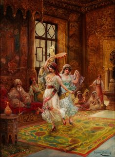 Stephan Sedlacek (1868-1936)  Harem interior with dancing women.Oil on canvas. Sedlacek was a history and genre painter, depicting aristocratic people in courtly environments as well as oriental scenes. As in this work, Sedlacek painted rich and detailed interiors. Note how his light source illuminates only the dancers .
