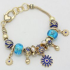 Shasta Daisy Bracelet in Blue Murano Glass on Emma Stine Limited