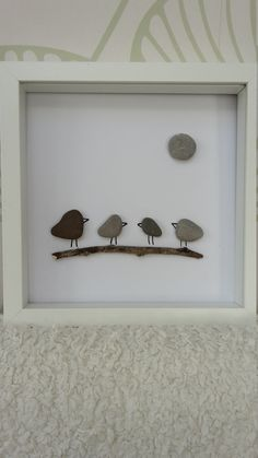 Pebble art 'Feathered Friends' picture, gift