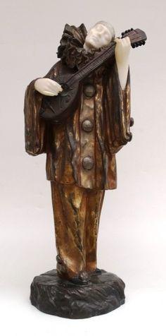 """D.H. CHIPARUS - """"The clown""""s dream"""" - Escultura de bronze e mármore. 56 cm de altura. As"""