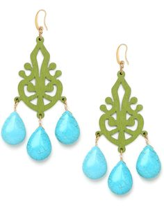 These glamorous earrings evoke the exotic allure of South Asia, with its beautiful mash-up of Indian and Tibetan motifs. Kicking things up a contemporary notch? The fun sorbet palette of lime greens and minty blues.