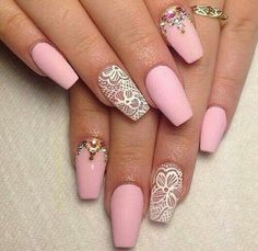 Pink Matte Nails with White Lace Accent.
