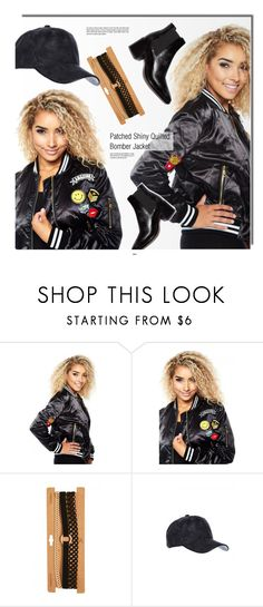 """""""Patched Jacket"""" by gogenx ❤ liked on Polyvore featuring black, bomberjacket, layeredchoker and patchedbomber"""