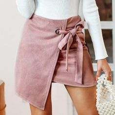 6b1622043 Melanie Asymmetrical Wrap Suede Mini Skirt