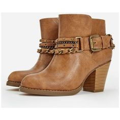 Justfab Booties Iliana ($43) ❤ liked on Polyvore featuring shoes, boots, ankle booties, brown, cowboy boots, brown cowboy boots, western booties, brown high heel boots and high heel boots