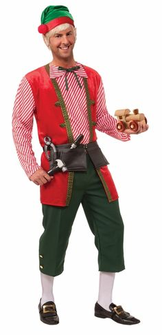 Toy Maker Elf The Toy Maker Elf costume includes shirt with attached vest and bow, Hat, pants, tool belt with novelty tools. Socks, shoes and toy train not included. Christmas Elf Costume, Christmas Costumes, Christmas Toys, Christmas Themes, Halloween Party, Halloween Costumes, Mens Elf Costume, Adult Elf Costume, Elf The Musical