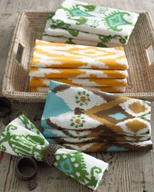 ikat napkins - love the pops of colors in linens