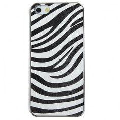 Fashion Zebra-stripe Designer Electroplating Plastic Hard Case Cover for iPhone 5 (White and Black)