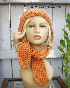 Knit Scoodie Hooded Scarf Knit Hood Oversized Knitting Hat Womens Hat Trendy Winter Hat  Orange Hood Desert Glaze Orange Hat SLEIGH Hat by strawberrycouture by #strawberrycouture on #Etsy
