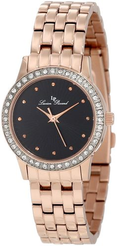 Lucien Piccard Women's 11696-RG-11 Monte Velan Black Textured Dial Rose Gold Ion-Plated Stainless Steel Watch >>> Check this awesome watch by going to the link at the image.